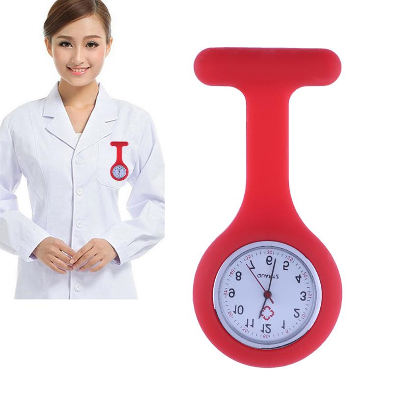 Fashion Nurses Watches Doctor Fob Watch Brooches Silicone Tunic Batteries Medical Nurse Women Watches Quartz with Clip relogio fashion colorful silicone nurses brooch fob pocket quartz watch 12 styles pendant round portable medical nurse doctor watches
