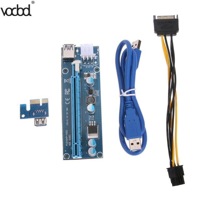 60 cm USB 3.0 PCI-E PCI Express 1x à 16x Machine D'extraction Extender Riser Card Conseil Adaptateur avec Broches pour 6Pin Câble D'alimentation