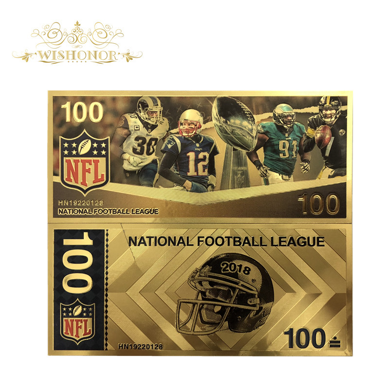 1Pcs Nice America NFL Super Bowl Banknotes 100 Dollar Bills Banknote in 24K Gold Plated Paper Money For Gifts