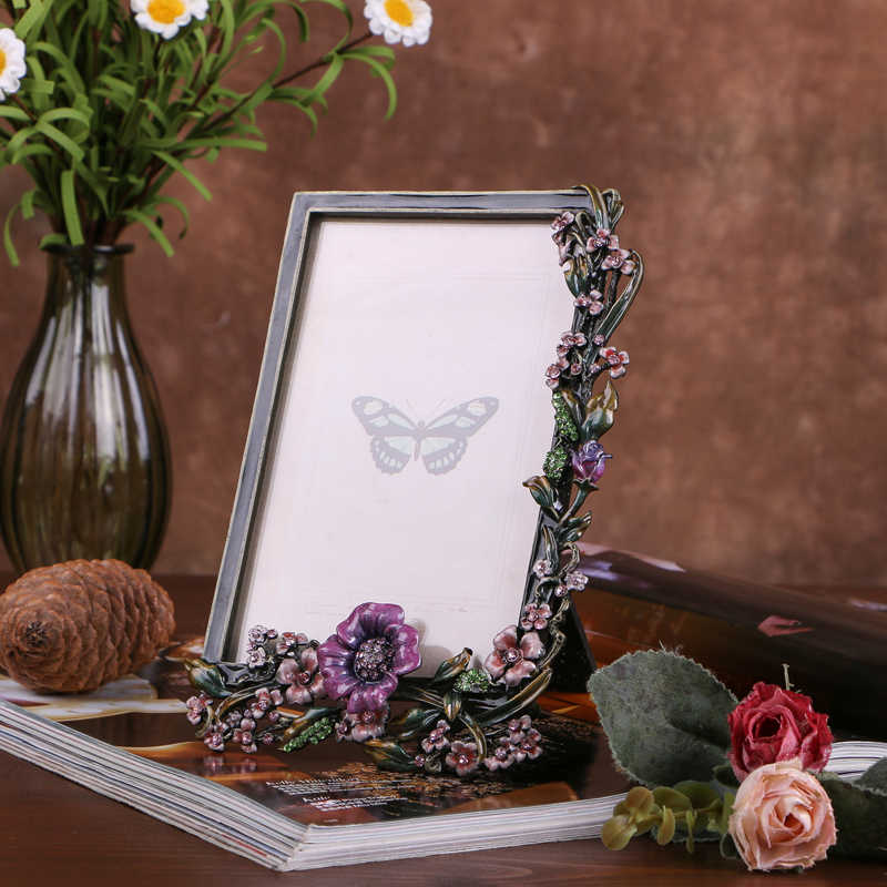4*6 inch Europe Fashion Pearl photo Frame for Home bedroom table decoration with picture card for popular gift JA-5345A