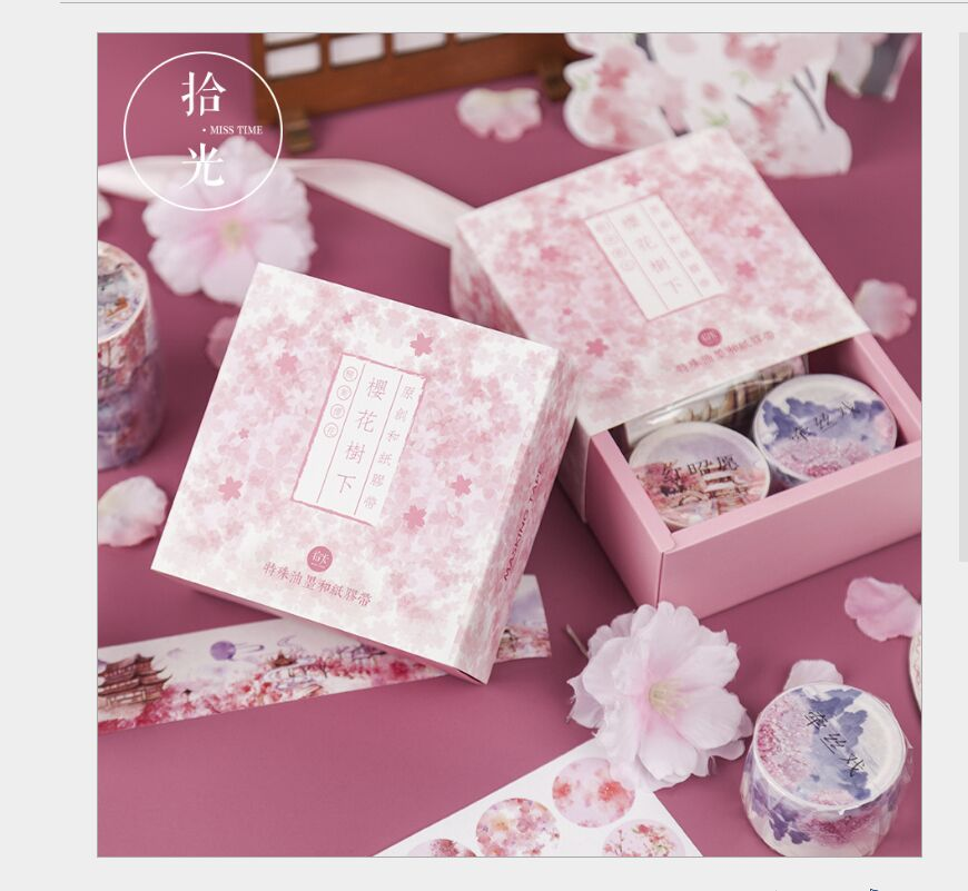 6pcs/box gift set Gold foil flying crane Japan sakura flowers sea whale stars moonlight Dreamy washi tape DIY planner scrapbook6pcs/box gift set Gold foil flying crane Japan sakura flowers sea whale stars moonlight Dreamy washi tape DIY planner scrapbook