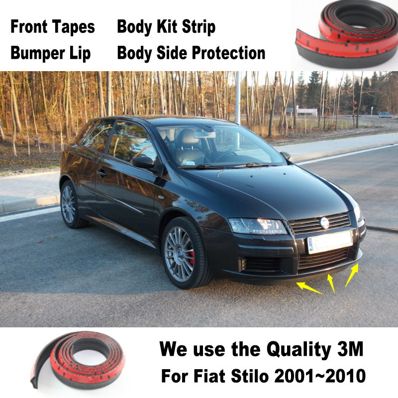 Bumper Lips For Fiat Stilo Panda Bravo Punto Linea Croma 500 595 Spoiler Body Kit Strip Front Tapes Body Chassis Side Protection