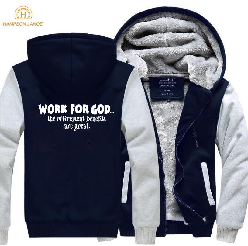 Image 4 - Work For God The Retirement Benefits Are Great Super Jesus Christ  Hoodies Men 2019 Winter Warm Fleece Fashion Sweatshirts Jacketfashion  hoodie menhoodies mensweatshirt jacket
