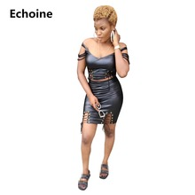 Women Sexy Grommet Hollow Out PU 2 Piece Set Bandage Leather Skirt Bodycon Club Outfit Crop Top And Mini Streetwear