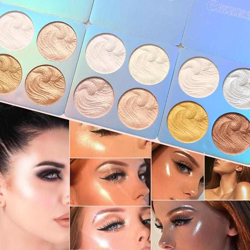 1PC 4Color Highlighter Facial Bronzers Palette Makeup Glow Face Contour Shimmer Powder Illuminator Highlight Cosmetics TSLM2