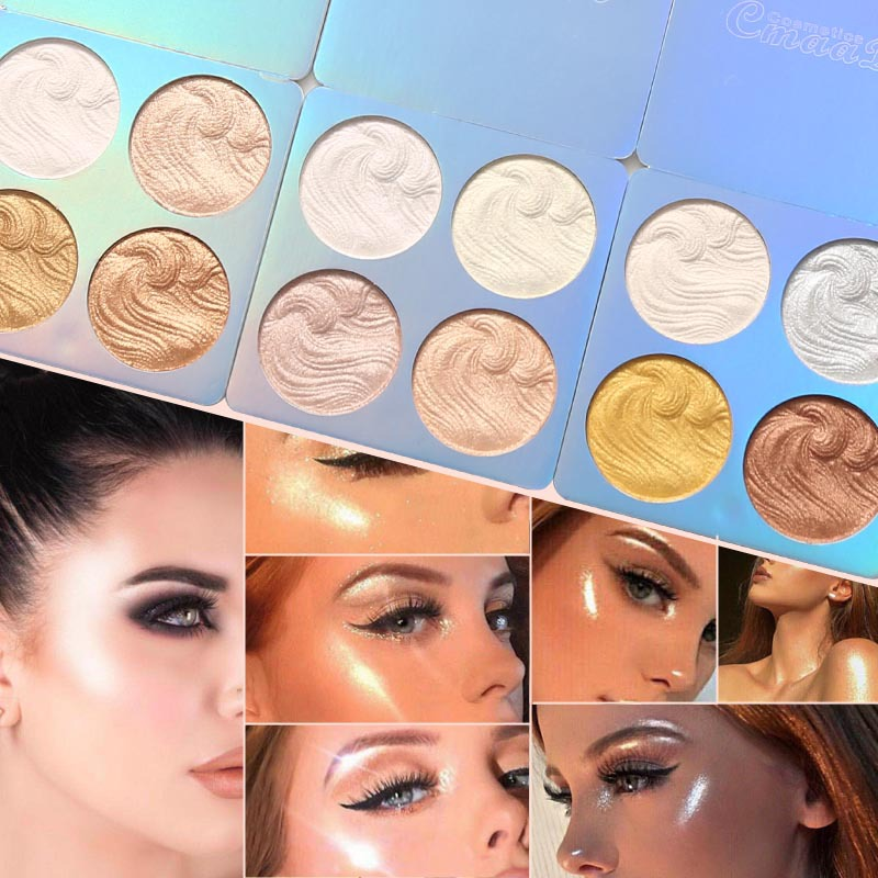 1PC 4Color Highlighter Facial Bronzers Palette Makeup Glow Face Contour Shimmer Powder Illuminator Highlight Cosmetics TSLM2 image