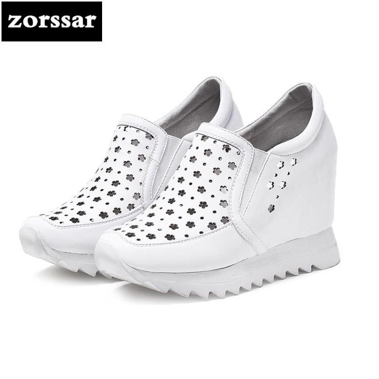 {Zorssar} 2018 New Genuine Leather casual womens shoes pumps Slip-on increased internal High heels shoes women platform shoes zorssar 2018 spring new casual women shoes genuine leather heels pumps slip on wedges platform high heels womens creepers shoes