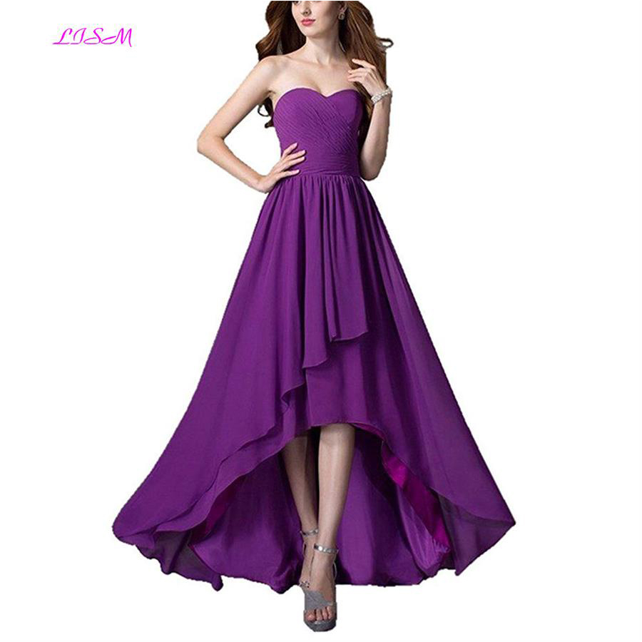 High Low Chiffon   Bridesmaid     Dresses   Sweetheart Ruffled Long Maid of Honor Gowns Cheap Beach Garden Plus Size Wedding Guest   Dress