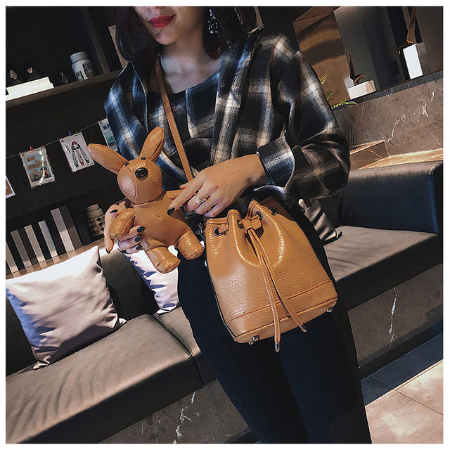 Fashion PU Leather Women Buckets Bags Litter Bear Women Shoulder Bags 2 Pcs Set Casual Tote Handbags Solid Small String Bags Sac