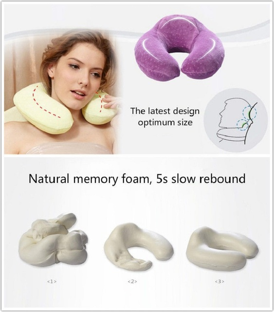 1pc U-shaped Neck Pillow Memory Foam Car travel air plane home Pillow Neck Head Support Office Cushion Comfortable Travel Pillow 2