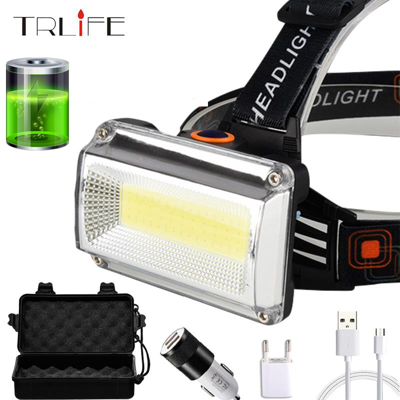 2400mAh USB Rechargable 8000LM LED Headlamp COB Headlight Portable Searchlight Lantern Flashlight For Outdoor Camping,Cycling