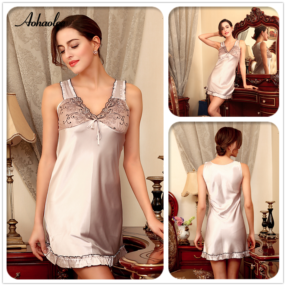 62ed14b596 Women Luxury Silk Robe Babydolls Sexy Lace Lingerie Sleepwear Slip Chemise  Nightgowns For Women s Sleepwear Silk Night Gown Robe