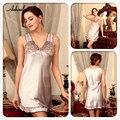 Women Luxury Silk Robe Babydolls Sexy Lace Lingerie Sleepwear Slip Chemise Nightgowns For Women's Sleepwear Silk Night Gown Robe