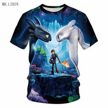 MR.LIBIN Pocket Toothless T-Shirt Mens Tops How to Train Your Dragon Cartoon 3D Summer Clothes Couples