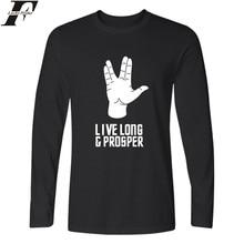 LUCKYFRIDAYF Star Trek TShirt Men Hip Hop Tee Harajuku Live Long And Prosper Long Sleeve T