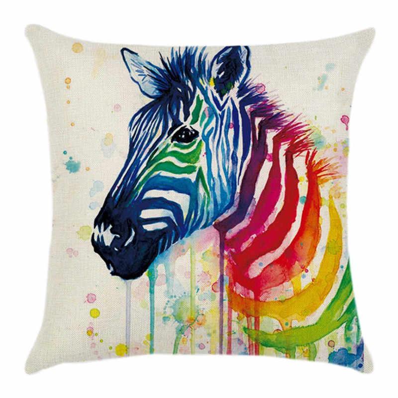 43*43cm kare yastık Zebra kafa hayvan baskı gökkuşağı pamuk keten yastık örtüsü kanepe atmak minder kılıfı dekor