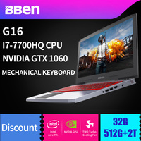 BBEN G16 Win10 игровой ноутбук 1920*1080 ips Intel I7 7700HQ озеро Каби NVIDIA GTX1060 8 г/16 г /32 г Оперативная память памяти + SSD HDD WI FI подсветкой
