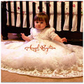 Girls Boys Christening Gown Baby Dresses White/Ivory Lace Appliques Half Sleeves Cotton Lining Baptism Robe With Bonnet