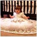 Muchachos de las muchachas traje de bautizo del bebé vestidos blancos / de marfil Appliques del cordón medias mangas forro de algodón bautismo traje con capó