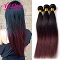 Malaysian Straight Hair T1B/99J Ombre Human Hair Extensions  Straight Virgin Hair 3 Bundle Deals Alionly  Human Hair Ombre