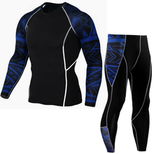 2 Pieces Long Sleeve Mens Compression Shirts Fitness Pant Sports Suit for Men's Sportwear Suit Men Sport Clothes Running Sets