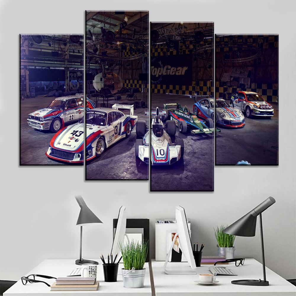 Painting Canvas HD Prints Office Decorative 4 Pieces Car Ford Lancia Lotus Racing Top Gear Wall Modular Pictures Modern Artwork
