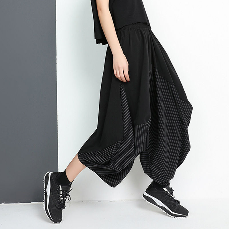 Johnature Elastic Waist Splicing Stripe   Wide     Leg     Pants   2019 New Plus Irregular Female Black Streetwear Ankle-Length   Pants   Spring