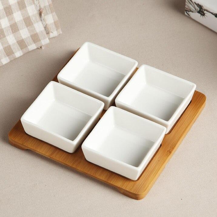 Divisions en céramique carrées minimalistes assiette à dîner grilles en porcelaine décoratives plateau de service ornement de vaisselle pour noix et bonbons
