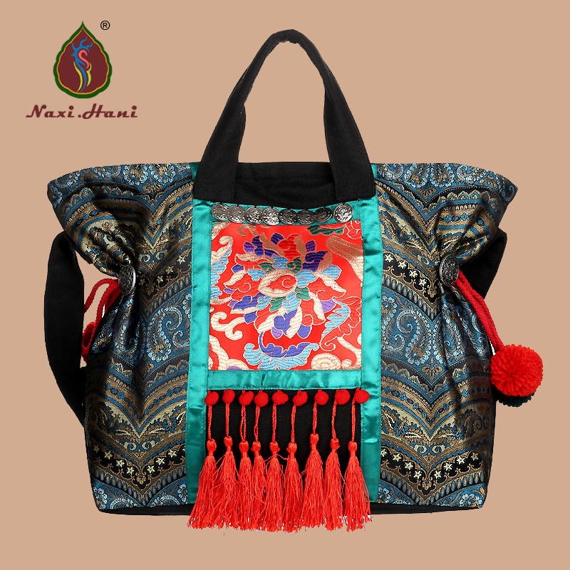 Naxi.Hani Original brocade embroidered women handbags Vintage Ethnic handmade tassel sequins canvas Shoulder Bags original ethnic embroidered women handbag vintage handmade tassel shoulder bags black canvas casual large bags