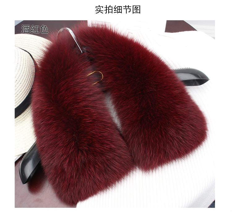 wholesale silver fox Winter Women's Real Fox Fur Collar Fox Fur Cap Fur Collar 60cm Straight Collar Soft Fur Scarf Neck Warmer