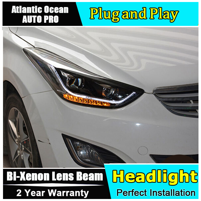 Car Styling For Hyundai Elantra Headlights 2011-2014 Elantra MD LED Headlight led drl HID KIT Bi-Xenon Double Lens low beam akd car styling for 2012 2016 hyundai elantra headlights md led headlight drl q5 bi xenon lens high low beam parking fog lamp