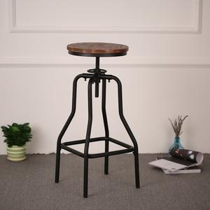 iKayaa Industrial Style Bar Stool Height Adjustable Swivel Natural Pinewood Top Dining Stool Bar Furniture Home Decor DE Stock