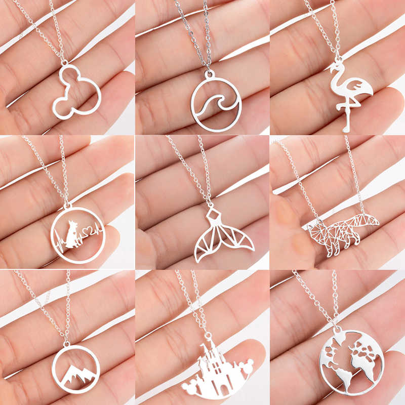 Jisensp Stainless Steel Mickey Necklaces Pendants for Women Everyday Jewelry Fashion World Map Dog Fox Necklace Gold Collier