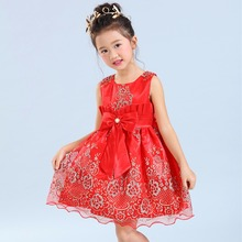 Fille robe rouge sans manches robe de bal genou longueur dentelle broderie princesse partie de mariage robes pour gir