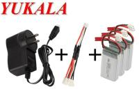 YUKALA 7 4V 350mAh Li Polymer Battery 3pcs 3 In 1 Wall Charger For X401H X402