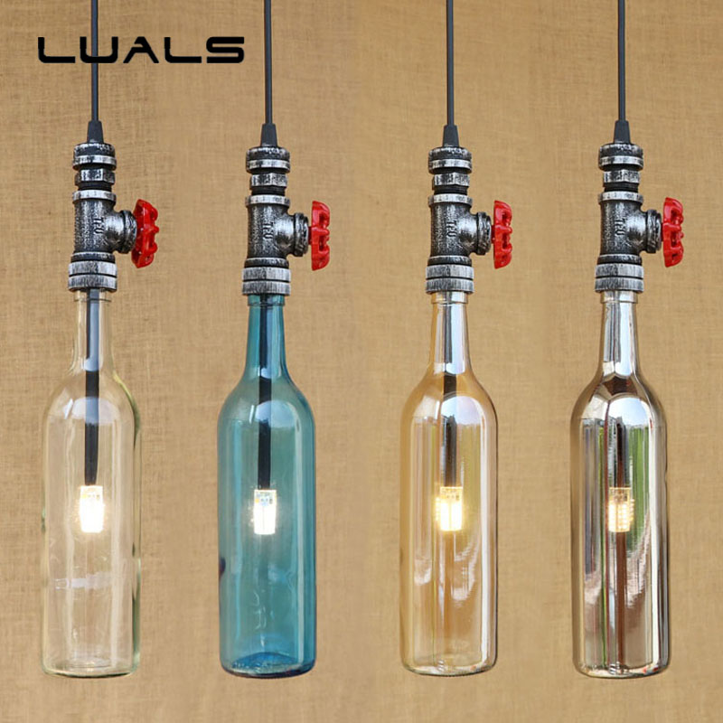 LUALS Loft Industrial Pendant Light Cafe Bar Glass Bottles Vintage Pendant Lamp Personality Restaurant Home Art Deco Lighting loft vintage industrial pendant light fixtures copper glass shade pendant lamp restaurant cafe bar store dining room lighting