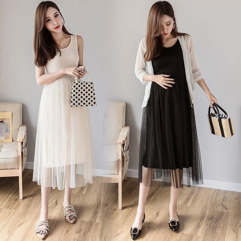 Dresses Charitable Pregnant Women Fat Plus Fertilizer To Increase Summer Fashion Mesh Loose Vest Dress Tide Mother 200 Kg