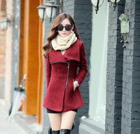 Europe 2016 Winter Women Temperament Slim Woolen Jacket Coat Female Fashion Irregular Thin Coat Jacket 1680