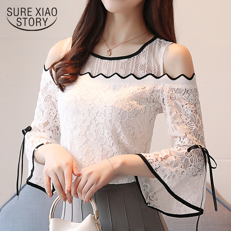 fashion womens tops and   blouse   sexy off shoulder top hollow lace   blouse     shirt   flare sleeve Summer tops blusas femininas D597 60