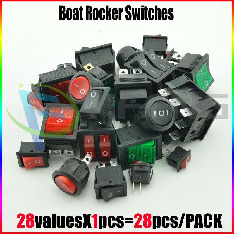 New!! High Quality Boat Rocker  Assorted Kit Sample Bag KCD1-KCD4 5A-15A ON/OFF ON/OFF/ON 28PCS