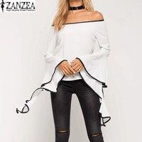 Plus Size S 5XL ZANZEA Women Flouncing Flared Sleeve Tops Shirts Blouse Sexy Ladies Off Shoulder