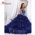 Cheap 2016 Vestidos De Quinceanera Lantejoula Beading Corset Corpete Plissado vestido de Baile de Organza Azul Marinho Vestidos Quinceanera