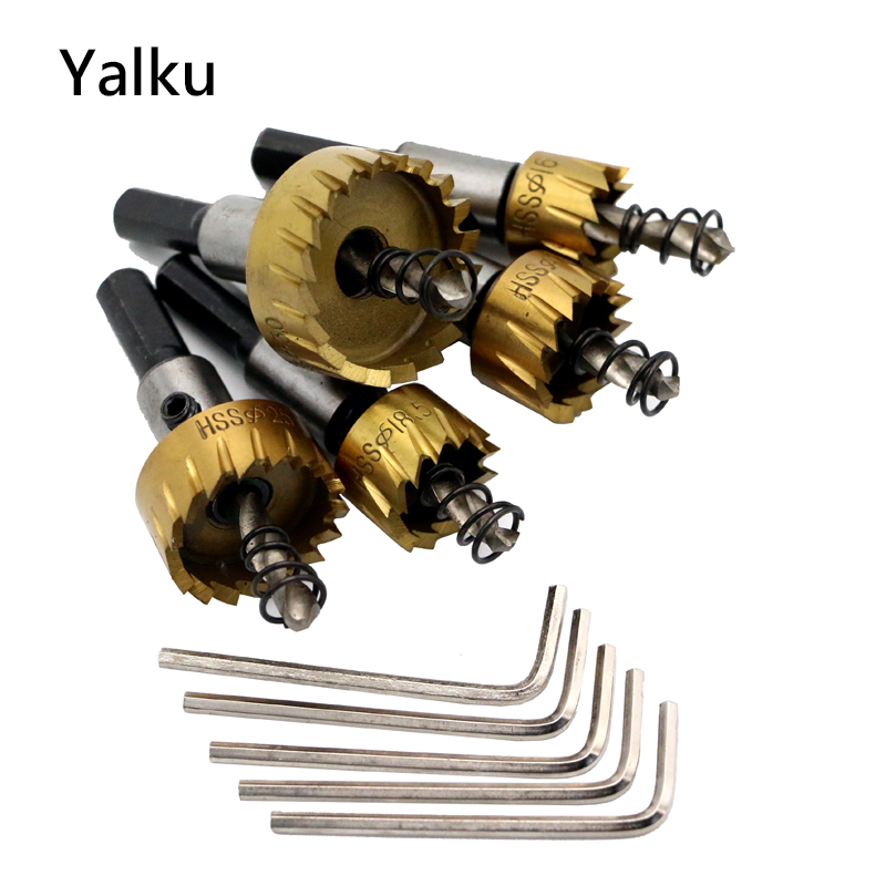 Yalku Countersink Drill Bit Power Tool Metalworking Drill Bits Metal HSS Hole Saw HSS Aluminum Plate Punching Drill Mini Wrench new 50mm concrete cement wall hole saw set with drill bit 200mm rod wrench for power tool