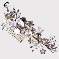 Luxury Wedding Bridal Hair Comb Vine Headpiece Wedding Headpiece With Pearls Rhinestones And Flowers Floral Bridal