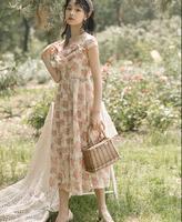 Vintage Chic Floral Dress Women Summer Short Sleeve Back Open Party Ladies Dress Robe Femme Vestidos