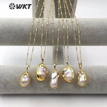 WT JN063 Natural Freshwater Pearl Necklace Teardrop Shape Dip Gold Pearl Random Size with 18inch Chain High Quality Lady Jewelry