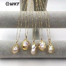 """WT JN063 טבעי מים מתוקים פרל שרשרת Teardrop צורת מח""""ש זהב פרל אקראי גודל עם 18 inch שרשרת תכשיטי גברת באיכות גבוהה"""