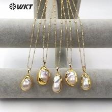 WT JN063 natural de água doce pérola colar forma lágrima dip ouro pérola tamanho aleatório com 18 polegada corrente alta qualidade senhora jóias