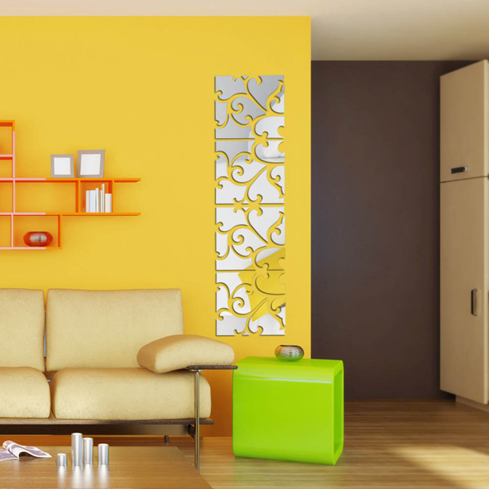 New 32pcs DIY 3D Acrylic Mirror Decal Mural Wall Sticker Home Decor ...