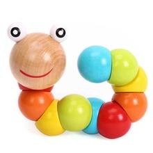 DIY Baby Kids Twist Caterpillar Wooden Toy Infant Educational Developmental Gift Weaving Handmade Novelty Caterpillar Toy chinese rings tradictional developmental toy